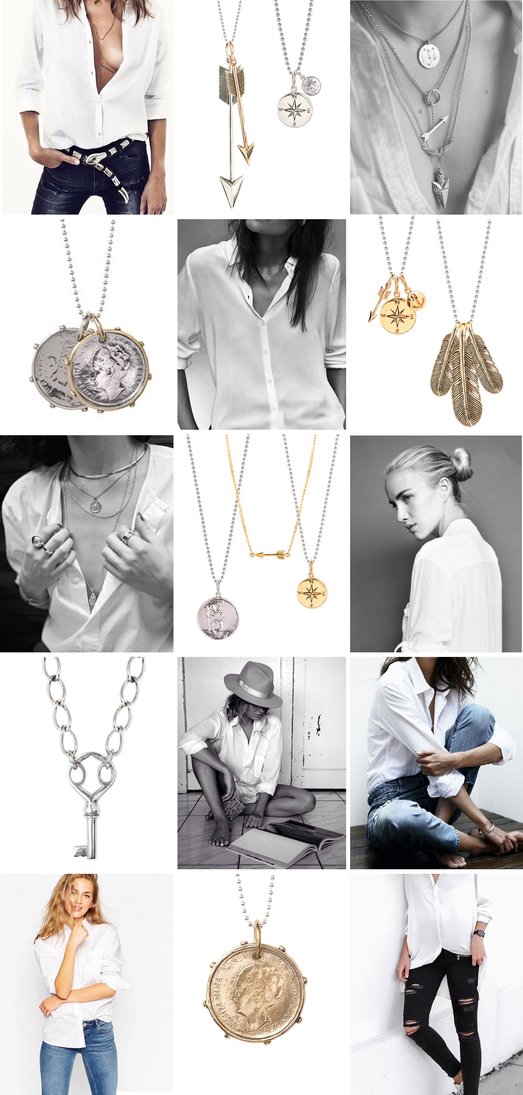 White Shirt Jewellery Ideas