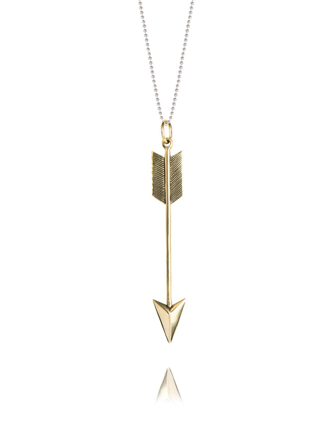 Large Brass Arrow Necklace
