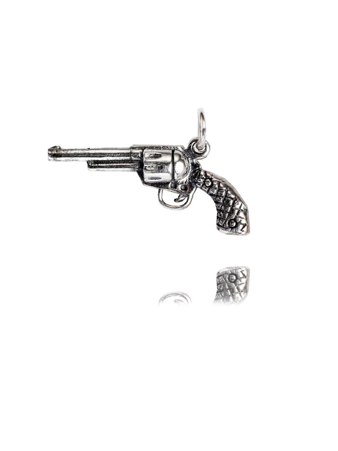 Small Silver Gun Charm