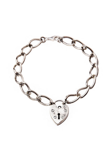 Chunky Linked White Bronze Heart Bracelet