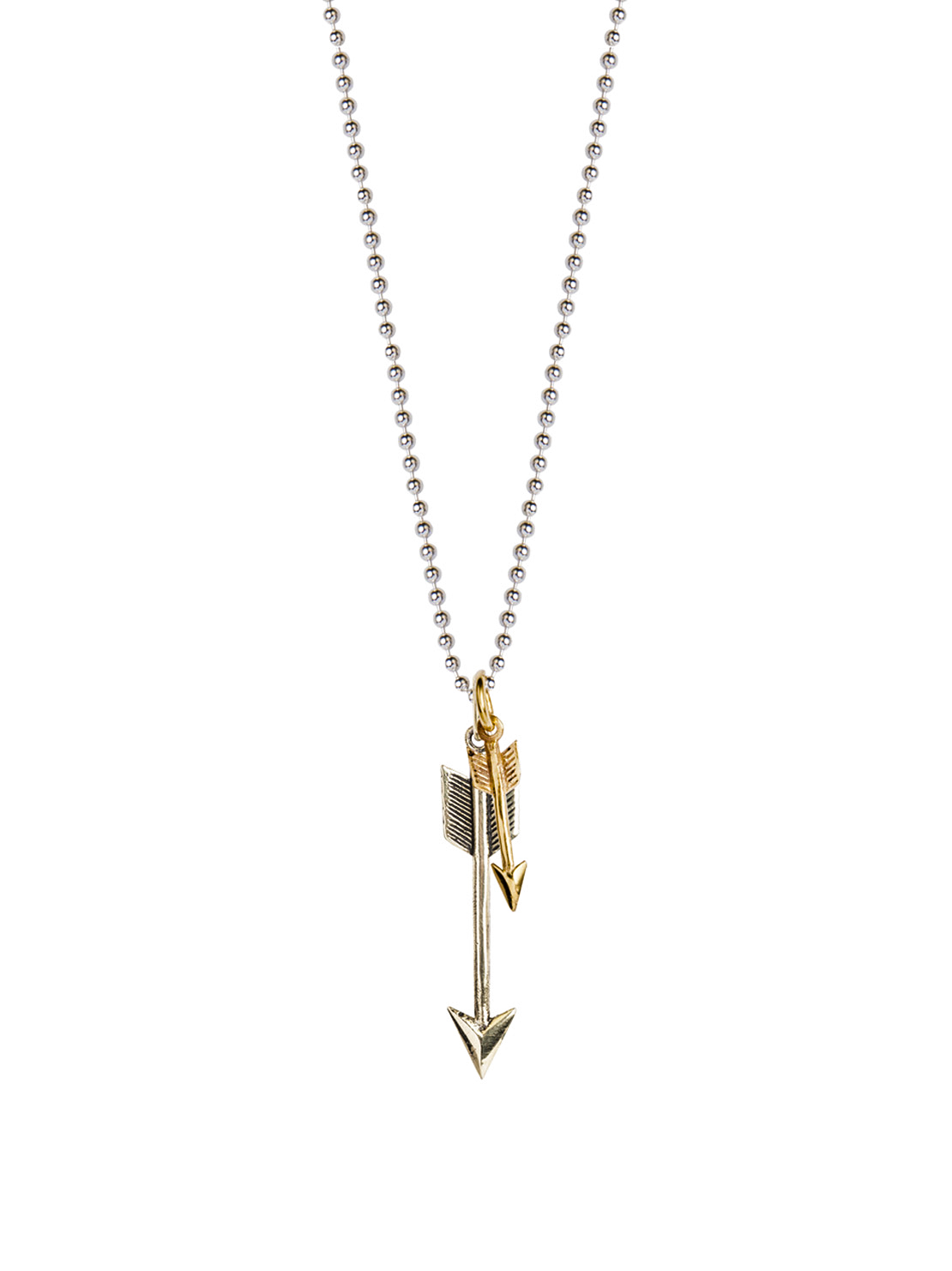 Silver And Brass Double Arrow Necklace