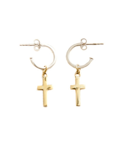 Silver Hoop Earrings With Brass Cross