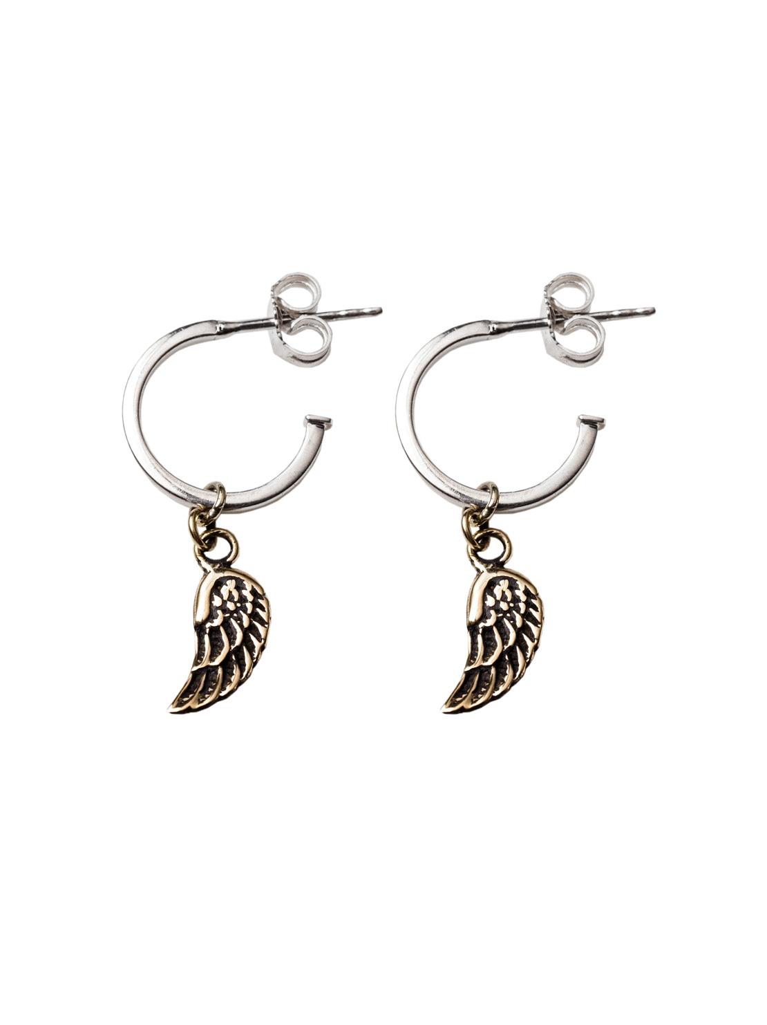 Silver Hoop Earrings With Brass Wings
