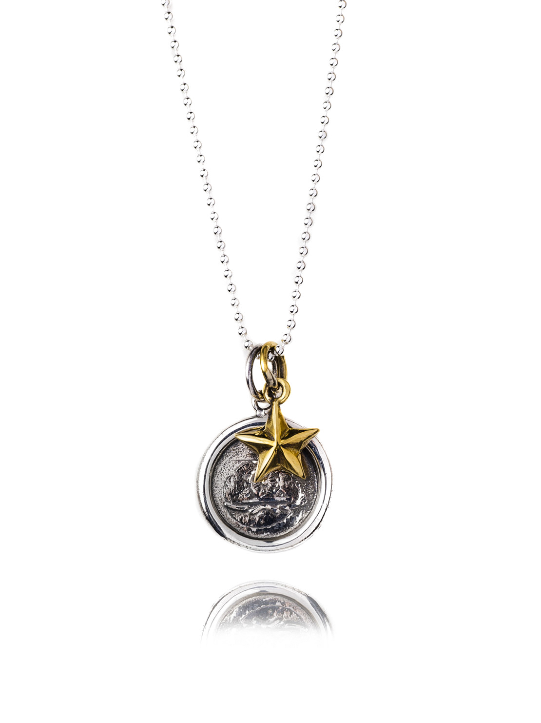 Silver Wax Seal Necklace With Brass Star