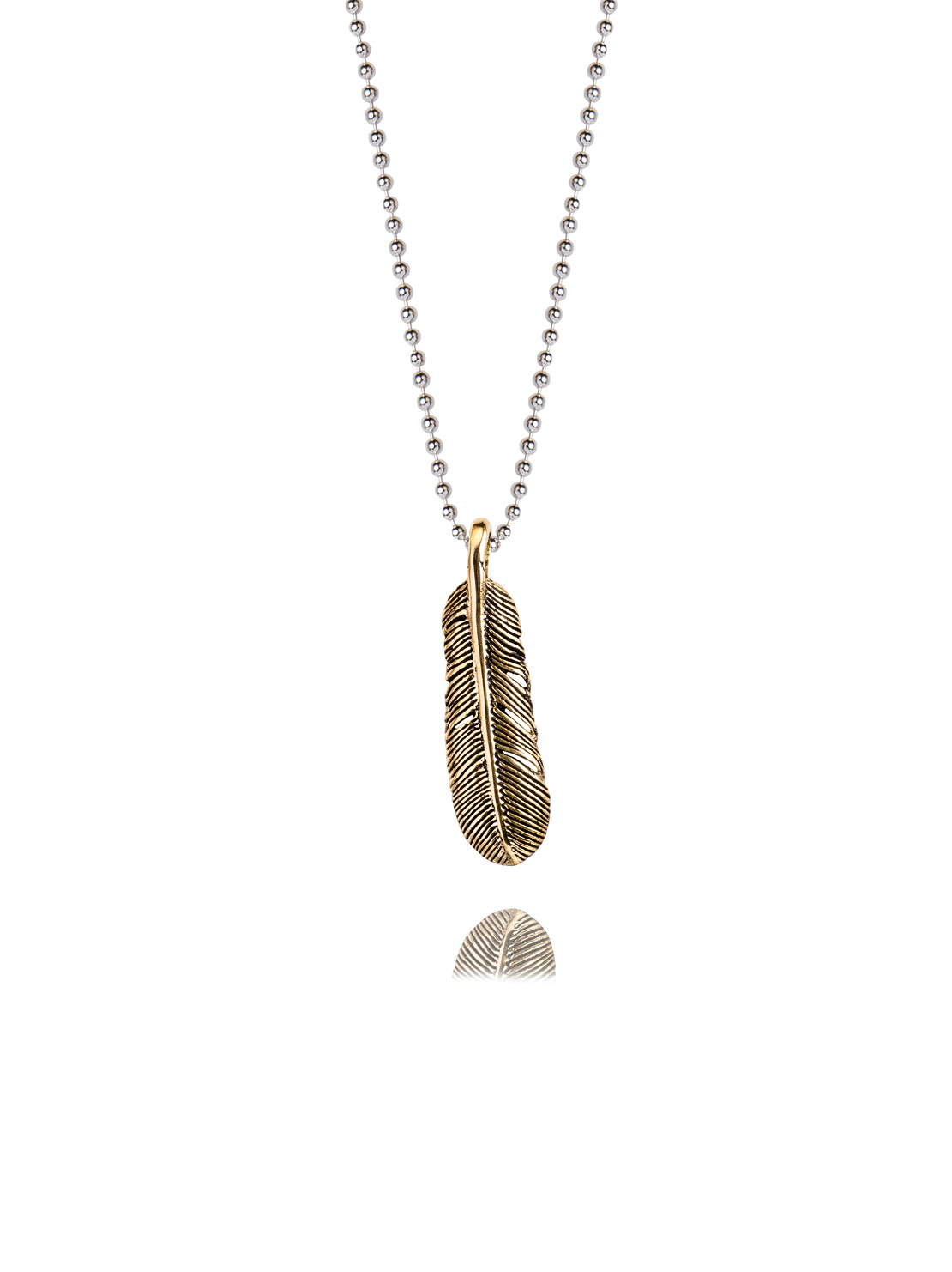 Small Brass Feather Necklace