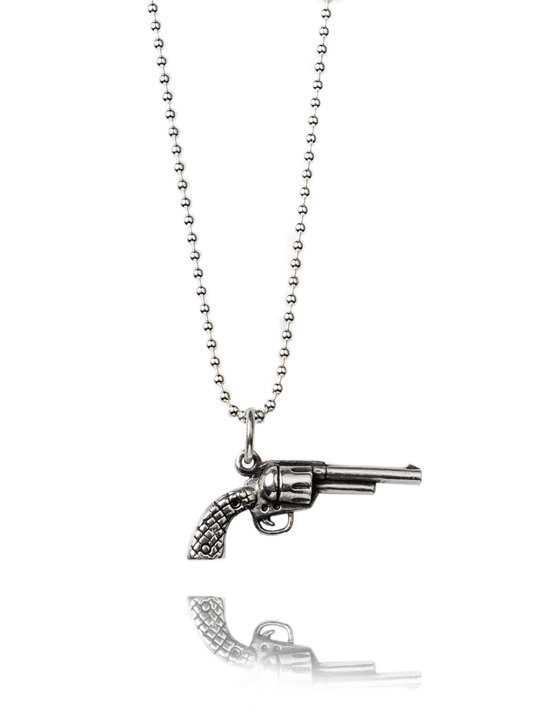 Small Silver Gun Necklace
