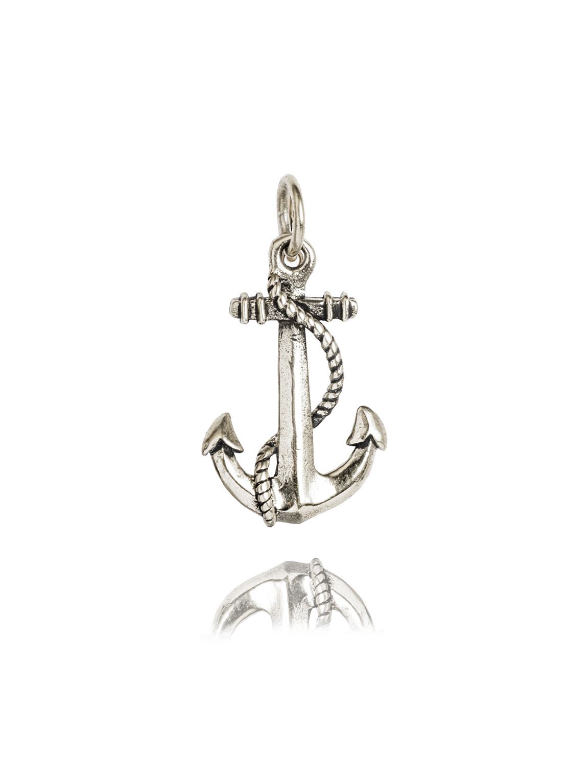 Small Silver Roped Anchor Charm