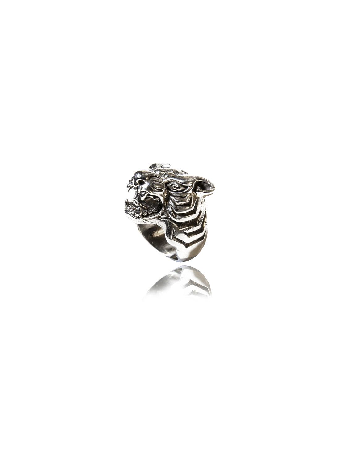 White Bronze Tiger Ring