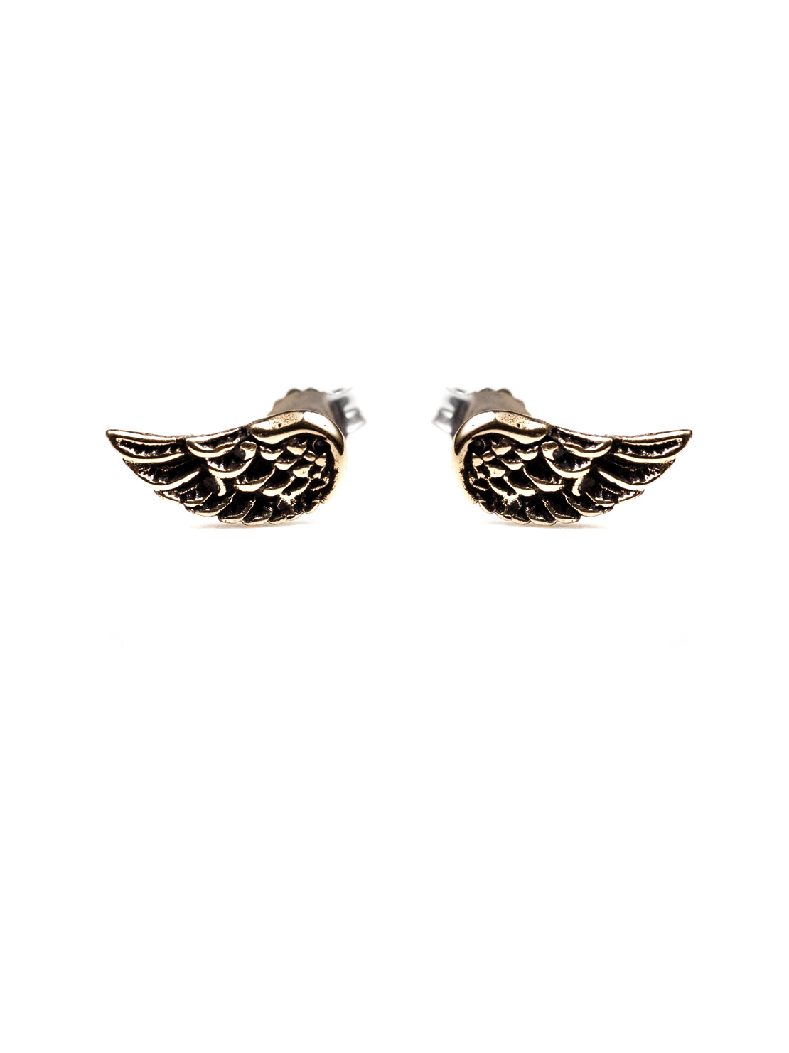 Brass Wing Stud Earrings
