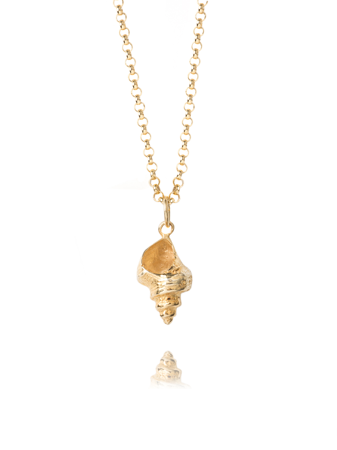 Large Gold Whelk Shell Necklace