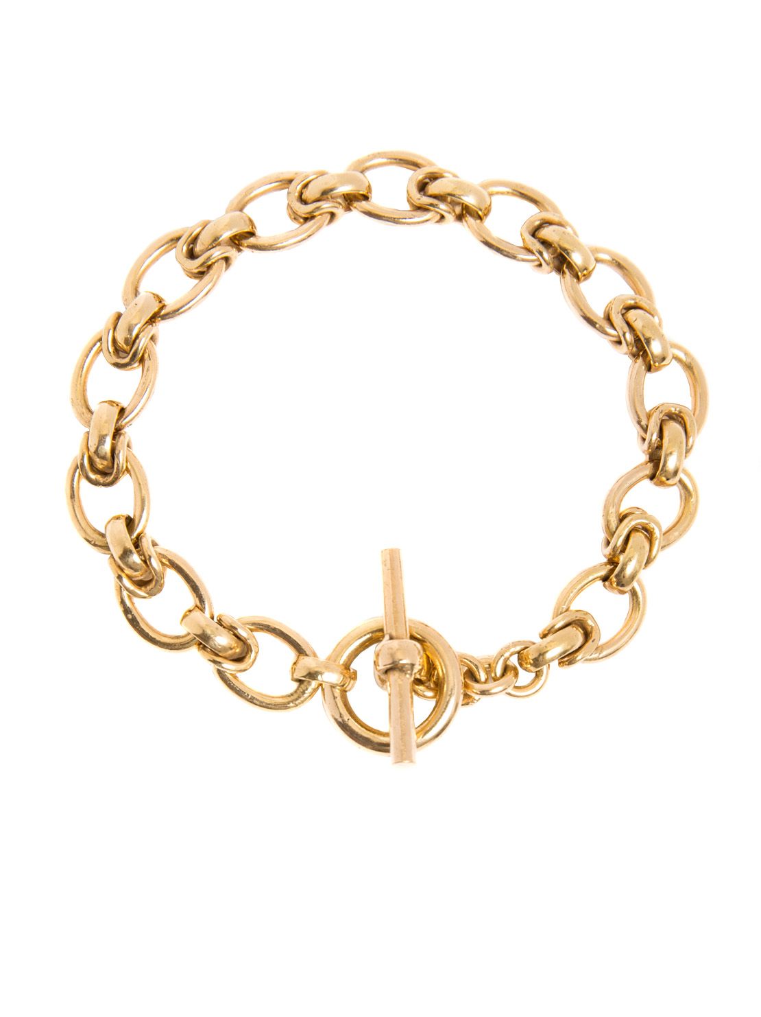 Small Gold Oval Linked Bracelet