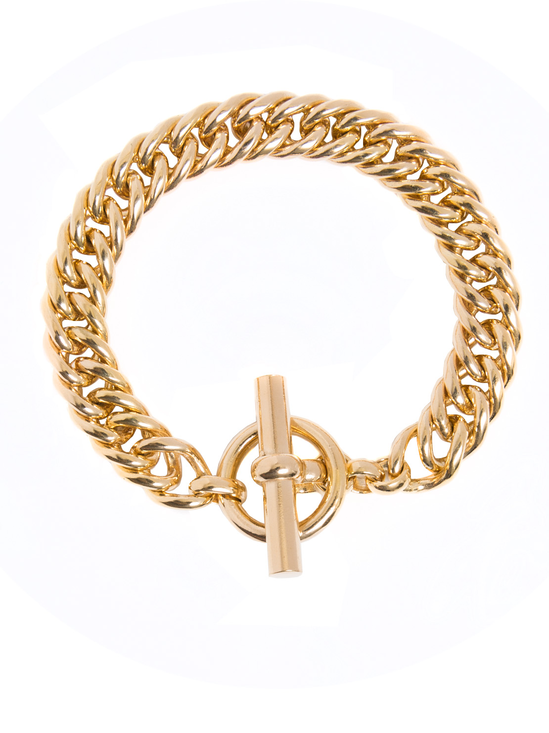Large Gold Curb Chain Bracelet