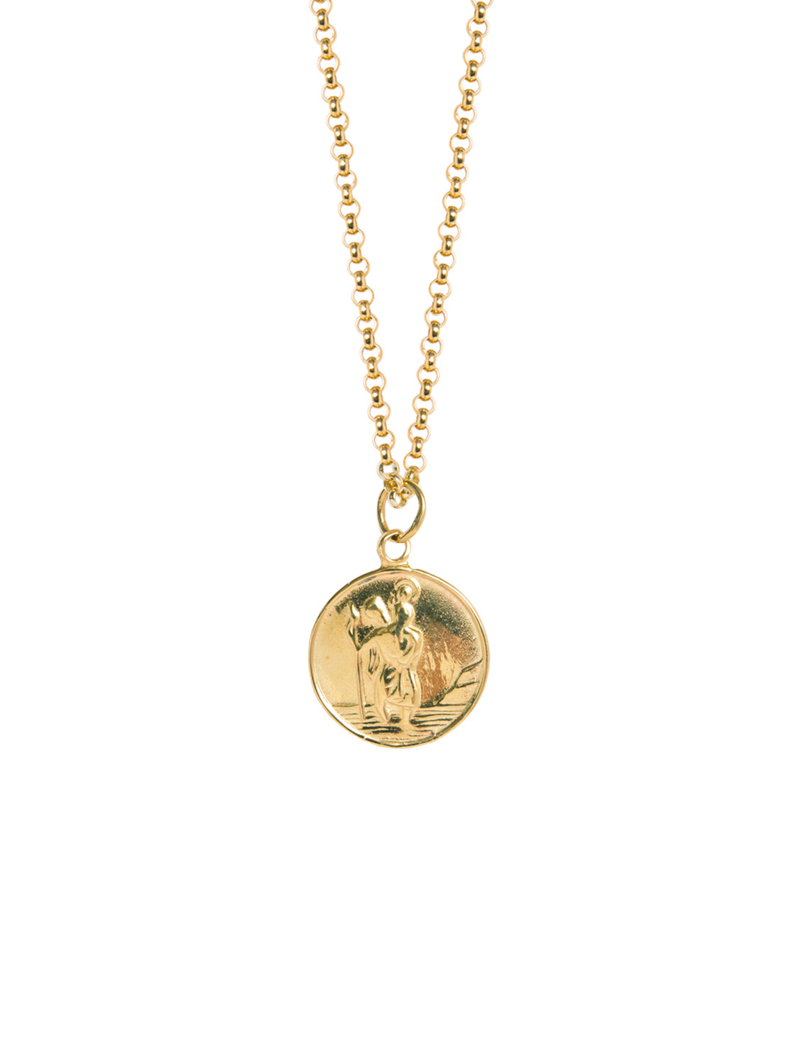 Large Gold St Christopher Necklace