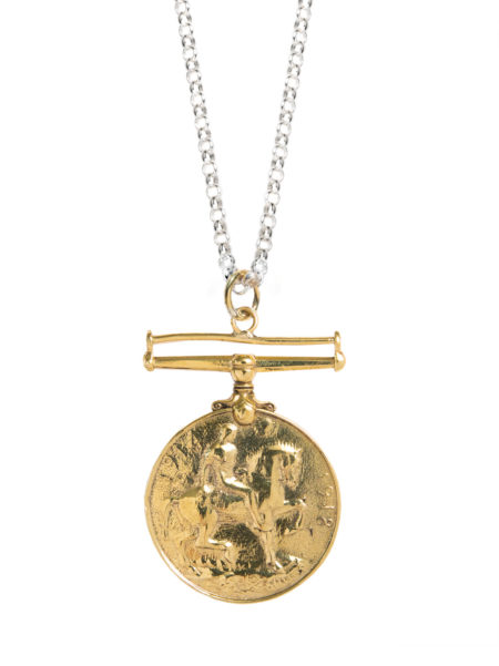 Gold Medal On Silver Chain