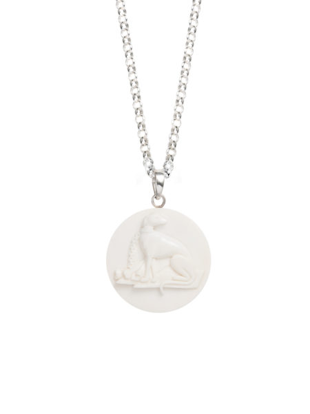 Hand Carved Bone Whippet Necklace