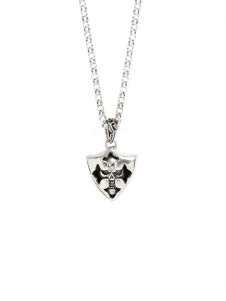 Silver Skull Shield Necklace