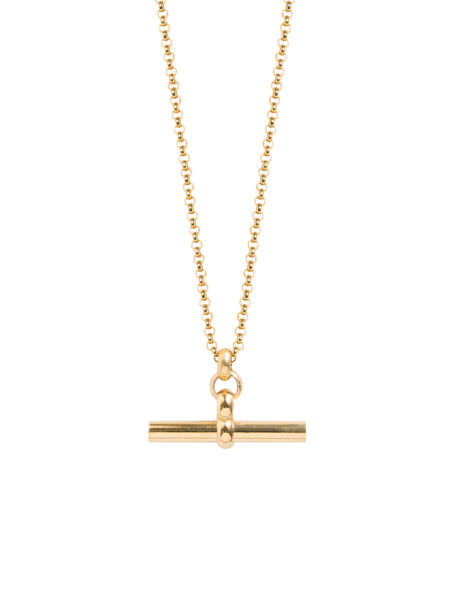 Medium Gold T-Bar On Fine Gold Belcher Chain