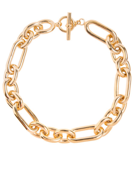 Large Gold Plated Watch Chain Necklace