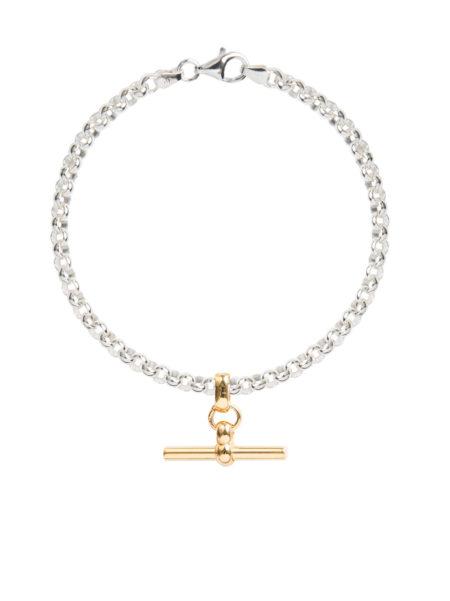 Silver Belcher Bracelet With Gold T-Bar