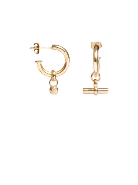 Small Gold Hoop Earrings With Small Gold T-Bar