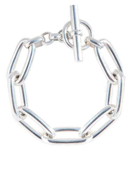 Chunky Oval Linked Silver Bracelet