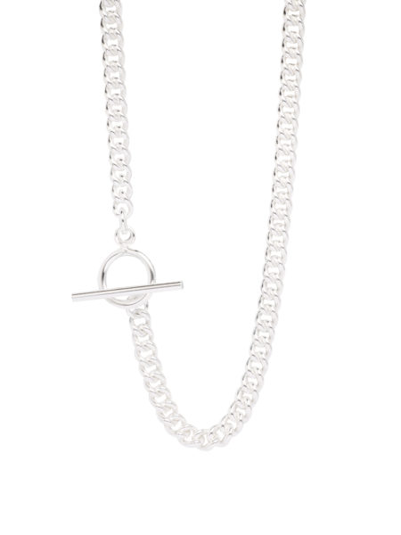Men's Silver Chunky T-Bar Curb Link Necklace