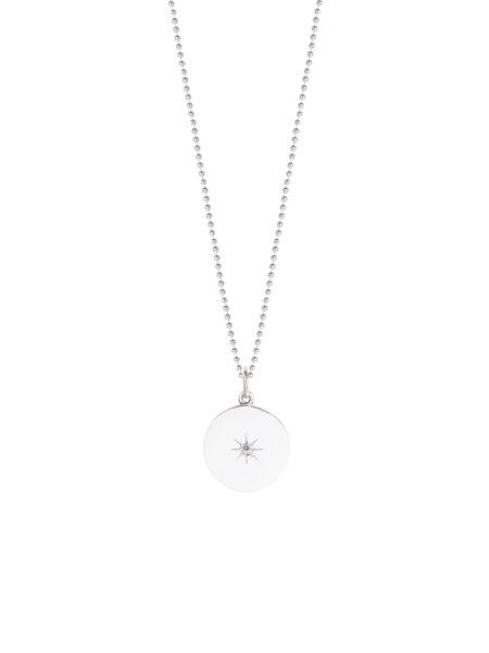 Silver Diamond Disc Necklace