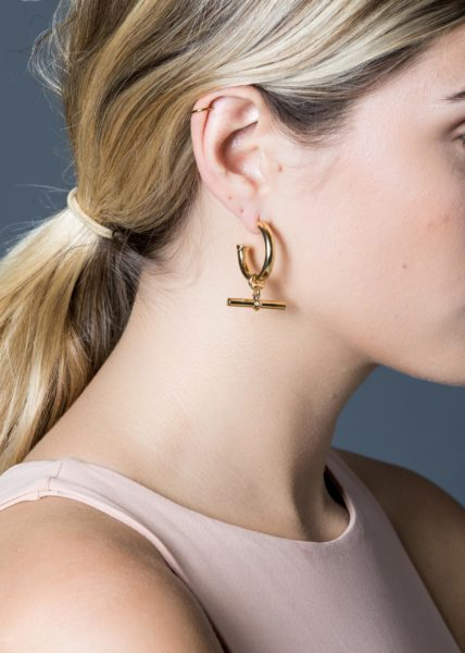 Large Gold T-Bar Earrings