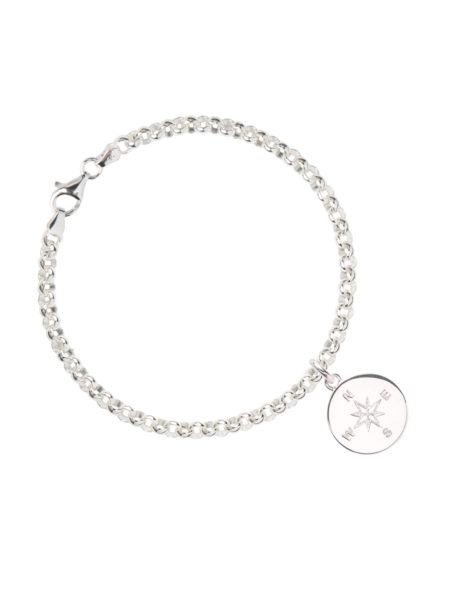 Silver Belcher Bracelet With Compass