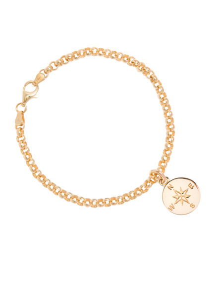Gold Belcher Bracelet With Compass