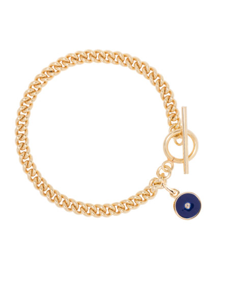 Gold Curb Link Bracelet With Navy Enamel Disc