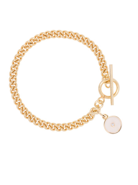 Gold Curb Link Bracelet With Cream Enamel Disc