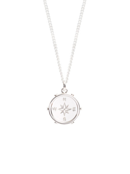 Silver Compass Necklace With Surround