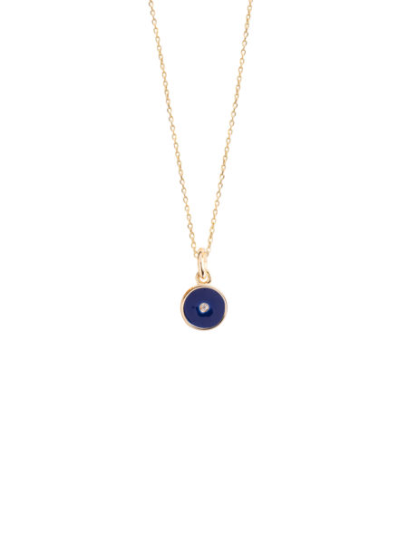 Tiny Navy Blue Enamel Diamond Disc On Trace chain