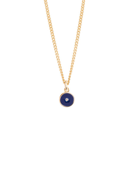 Tiny Navy Enamel Diamond Disc On Fine Curb Chain
