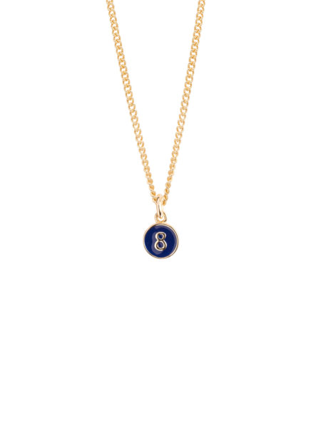 Navy Enamel 8 and Diamond Disc On Fine Gold Curb Chain
