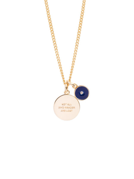 Not All Who Wander And Enamel Disc Charm Necklace