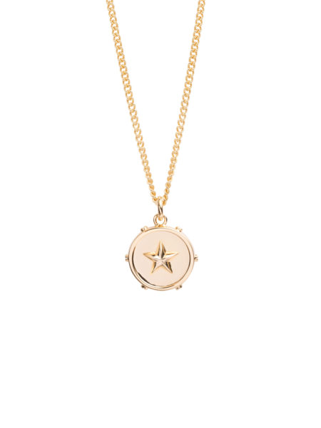 Gold Star Disc Necklace