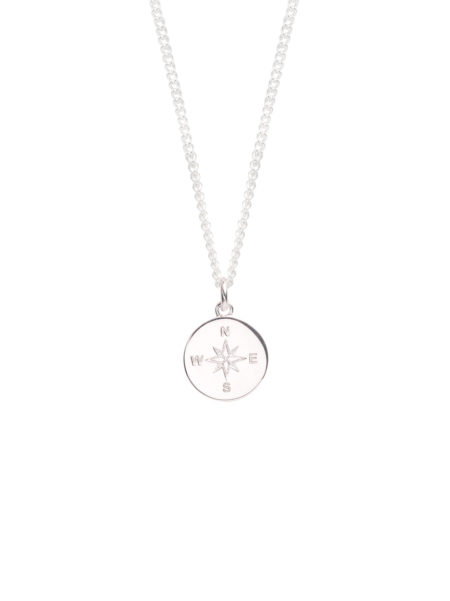 Large Silver Compass Necklace
