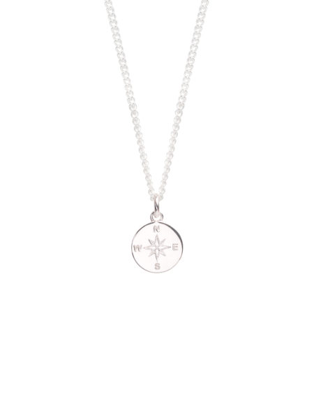 Small Silver Compass/Not All Who Wonder Necklace