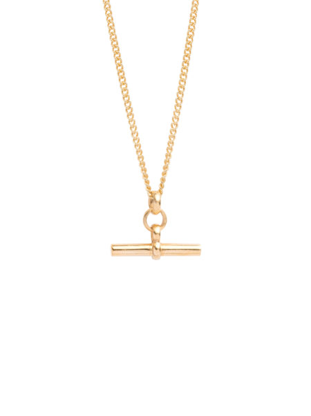 Men's Gold T-Bar On Fine Curb Chain