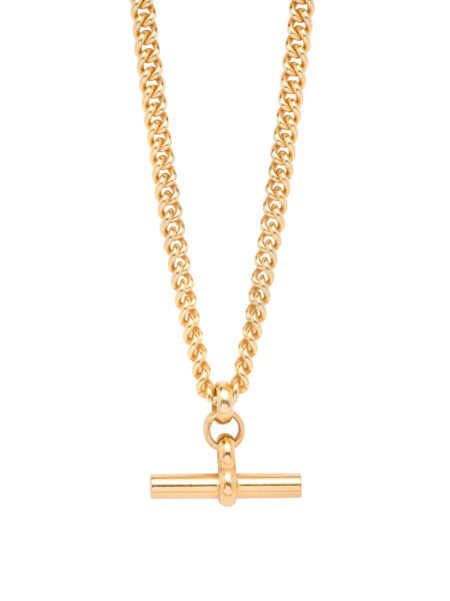 Gold Chunky T-Bar Curb Link Necklace