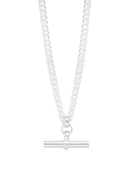 Silver Chunky T-Bar Curb Link Necklace