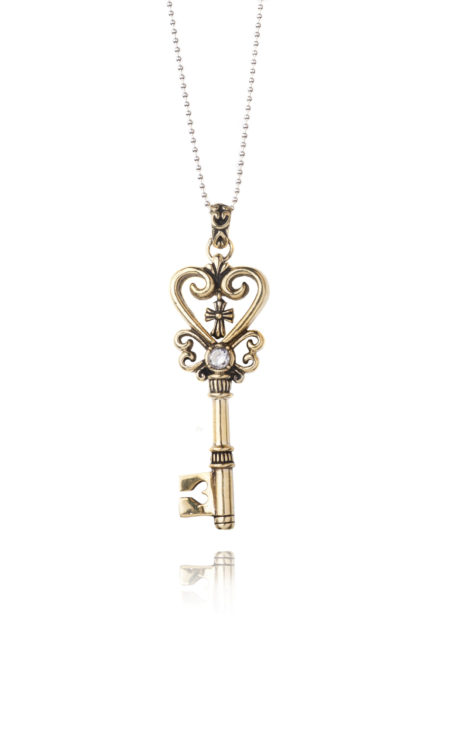 Gold Heart Key Necklace