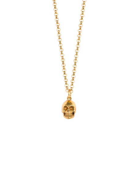Gold Skull Necklace on Fine Belcher Chain