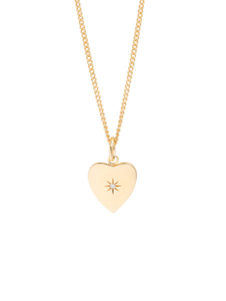 Heart Diamond Disc on Gold Curb Chain