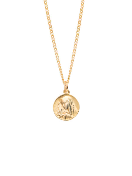Small Gold Religious Medal On Fine Curb Chain