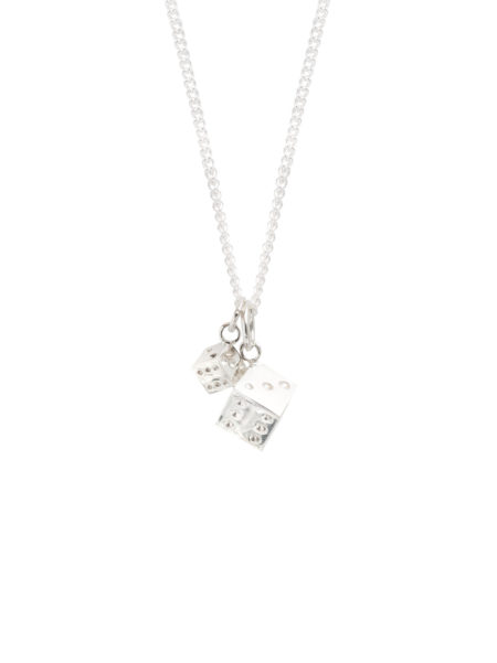 Double Silver Dice Necklace