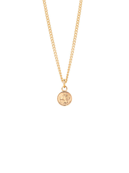 Small Gold Saint Christopher on Fine Curb Chain