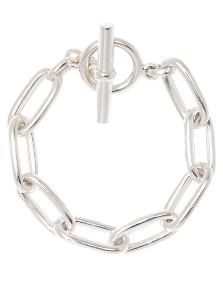 Medium Silver Oval Linked Bracelet